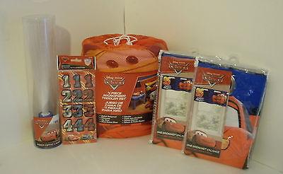 Disney Cars 4 pc Toddler Bed Set Comforter Sheet Set + 2 Valances, Fiber Lamp