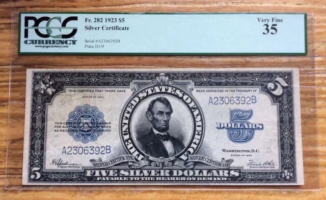 1923 $5 Silver Certificate LINCOLN PORTHOLE Fr. 282 - PCGS Very Fine 35 #10185n2