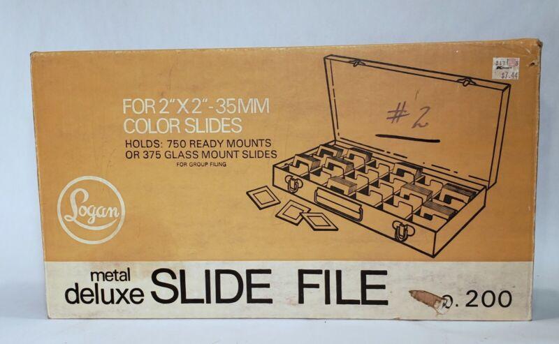 """Vtg. Logan 2"""" x 2"""" - 35mm Deluxe Metal Slide File Holds 750 Ready 385 Glass"""
