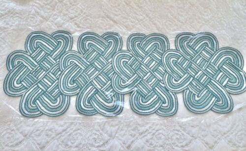 """Valerie Parr Hill BLUE SCROLL KNOTS BEADED TABLE RUNNER 13"""" X 36"""" New in Bag"""