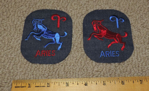 """Lot of 2 ARIES Vintage 1970s Sew On Iron On Denim Blue Jean Patches 3 5/8"""" X 3"""""""