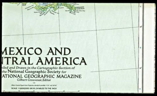⫸ 1953-3 March Vintage Map MEXICO & CENTRAL AMERICA - National Geographic A3