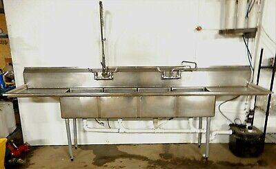 Commercial Ss 4 Bay Sink 10ft. W Faucet Pre-rinse Unit Pvc Plumbing