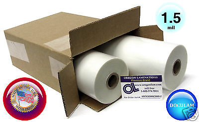 2 Rolls Doculam Hot Laminating Film 12 X 500 X 1 Core 1.5 Mil American Made