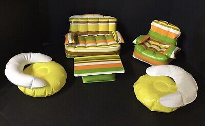 Vintage BARBIE PUFF & PLAY Inflatable Blow Up Furniture 1970's Living Room 5 pc