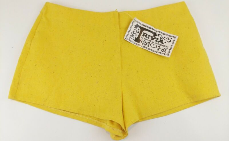 VTG 60s 70s Mod Yellow Hot Pants Hip Hugger Booty Micro Shorts Zip USA DEADSTOCK