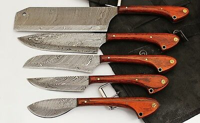 GladiatorsGuild Damascus Knife Kitchenette Red Wood 5pc Chef Knife Set w Case Bag 33
