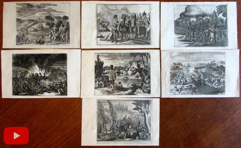 Ogilby 1671 Americas Peru early prints lot x 7 Hispaniola Mexico Indians