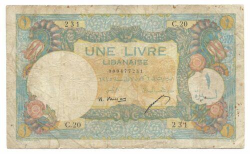 Lebanon Liban Banknote 1 Livre 1945 P48a French Rule VG Cedar Tree Rare