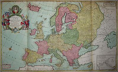Europa - Herman Moll - Große, seltene Karte von Gesamteuropa - Europe 1720 -Rare