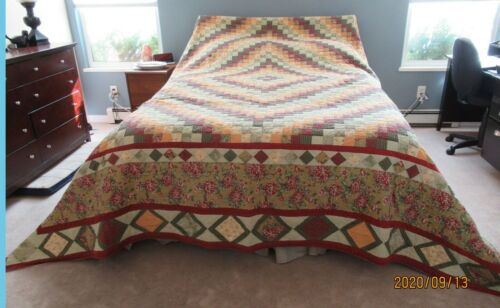 """Home made Extra Large King Size Quilt  115"""" x 120"""" Fall Colors Green, Burgany &"""