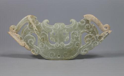 China old ZHANGOU period old jade dragon beast head figure HUANG pendant