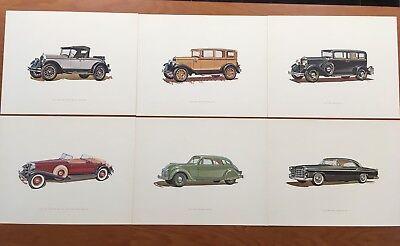 Vintage Chrysler Dodge Plymouth Dealer Set of 6 Art Car Drawing Prints- -