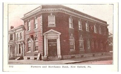 Early 1900S Farmers And Merchants Bank  New Oxford  Pa Postcard