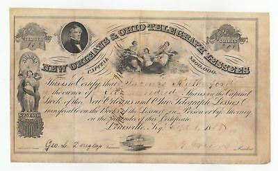 1858 New Orleans & Ohio Telegraph Lessees Stock Certificate - Norvin Green