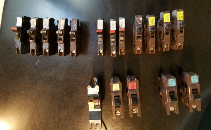 Federal Pacific Electric Breakers Lot of (17) Single Pole 15, 20, 30, 50 AMP