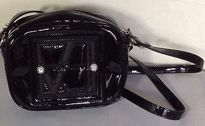 Ladies Versace Jeans Real Leather Black Patent Shoulder Bag