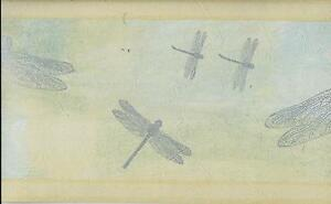 silver dragonflies yellow blue green wallpaper border ebay