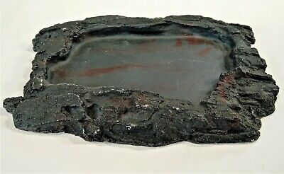 "Dish 8"" Lizard Reptile Amphibian Water Food Bowl Feeder Feeding Rock Resin Black"