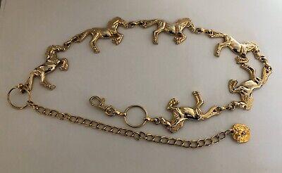 VTG ANNE KLEIN Gold Western Cowgirl Equestrian Running Horses Statement Belt