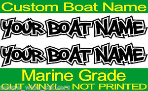 Marine Vinyl Custom Fishing BOAT NAME Decal Stickers Rod Reel Tackle Box Cabin