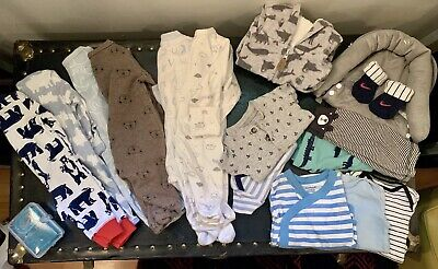 newborn baby boy clothes lot 17 Pc Sleepers Outfits Onesies Shoes For Spring-GUC