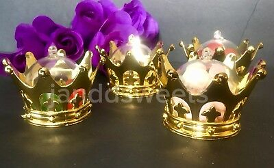 12PC Baby Shower Favors Fillable Gold Crown Party Decorations Girl Boy Princess