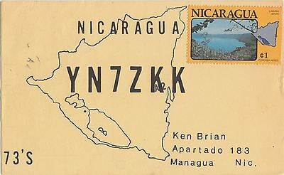QSL CARD Amateur Radio 1979 NICARAGUA Central America Ken Brian