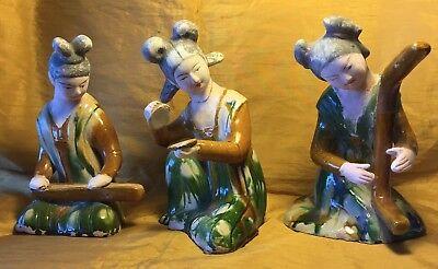 """Vtg Lot 3 Chinese 8"""" Sancai Tri-Color & Bisque Painted Pottery Musician Figures"""