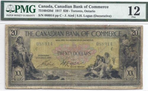 Canadian Bank of Commerce, $20, 1917, Decorative Logan sign., PMG F-12, 8 known!