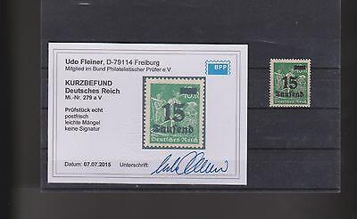 Dt.Reich 279 V Infla mit Plattenfehler postfrisch mit BPP-Fotobefund