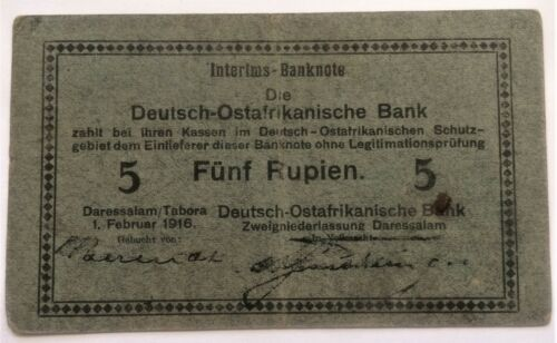 GERMAN EAST AFRICA (DEUTSCHE OSTAFRIKA) 5 RUPIEN 1916 WWI ROSENBERG # 933-D DAR