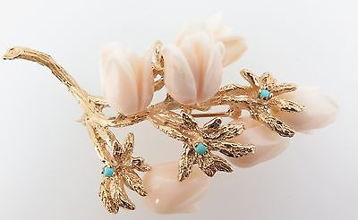 .Estate Large 14ct gold Angel skin Coral & Turquoise Brooch Val $4800
