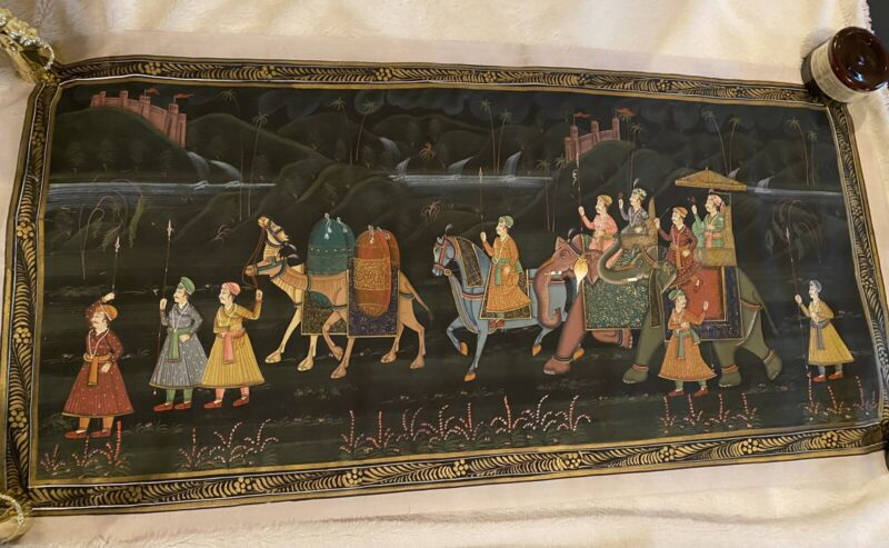 """Indian Painting on Silk with Procession 32"""" by 16"""""""