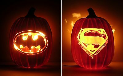 BATMAN 1989 / SUPERMAN 1978 Movie Logos (Hand-Carved Foam Pumpkin 12