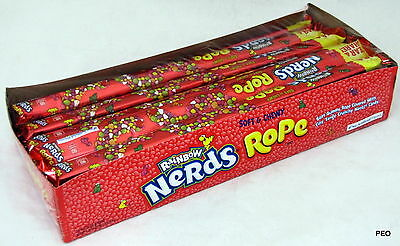 Nerds Rope Rainbow Soft Chewy Gummy Taffy Nerd Candy Ropes Bulk Candies 24 - Rope Candy