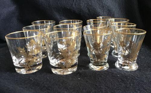 Gregory Duncan? Gold Thistle Glasses 6 Vintage Cocktail & 7 Shot Beautiful