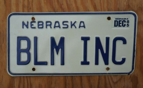 Nebraska Vanity License Plate BLM INC