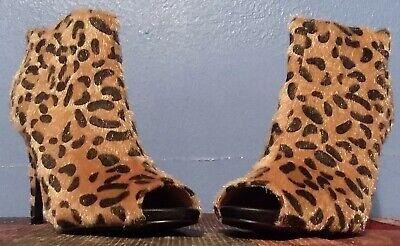 Qupid Leopard Faux Print Peep Toe High Heel Dress Shoe, Size 7