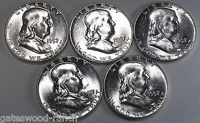 SET OF 5 1957 P FRANKLIN SILVER HALF DOLLARS   BEAUTIFUL BRILLIANT WHITE COINS