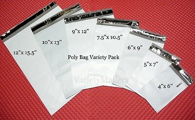 175 Poly Bag Postal Shipping Envelope Mailer Variety Pack 25 Each Of 7 Sizes
