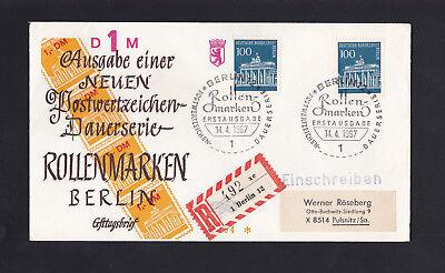 """Briefmarken Berlin West """"Brandenburger Tor"""" FDC Rollenmarken 100Pf"""