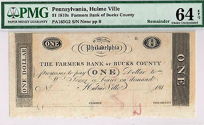 Special  1 Farmers Bank Of Bucks County  Pa   Pmg 64 Epq Choice Uncirculated