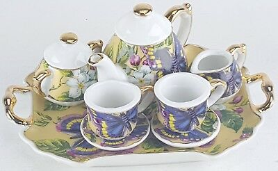 SM COLLECTIBLE ROSE BUTTERFLY PORCELAIN TEA SET POT SUGAR BOWL CREAMER 2 - Butterfly Tea Set