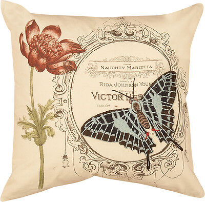 Naughty Butterfly w/Garden Tulip Embroidered Pillow  ()