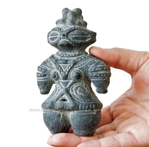 Dogu Jomon Ceramic Clay pottery statue Earthen figure Doll Ancient Black 12cm