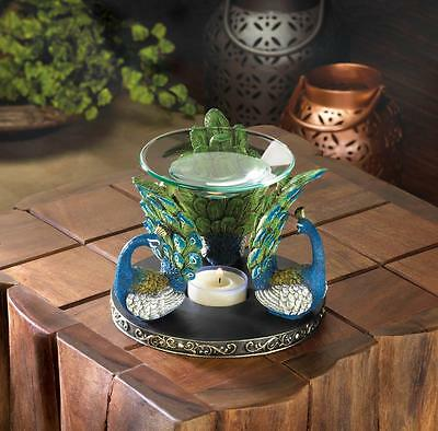 blue Peacock feather statue Wax Tart warmer Oil diffuser candle holder burner