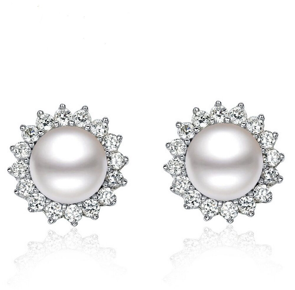 Solid 925 Sterling Silver Natural Freshwater 8-9mm AAA Pearls Ear Stud Earrings Fine Earrings