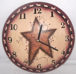 PRIMITIVE STAR AND VINES ROUND WALL CLOCK 11 1/2 DIAMETER ~ BATTERY