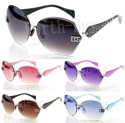 New Womens Sunglasses Shades Fashion Designer Rimless Round Hexagon Large (Sunglasses New Fashion)